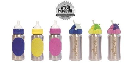 Termobutelka ze słomką Pacific Baby 265 ml - Silver Yellow